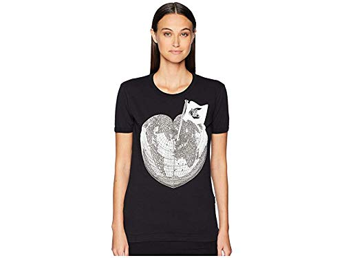 (Vivienne Westwood Women's Classic T-Shirt Heart World Print Black Medium)