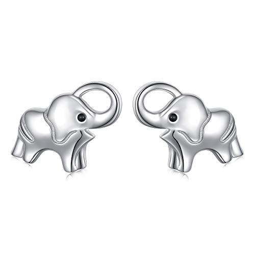 (Elephant Earrings Sterling Silver Lucky Elephant Stud Earrings for Women Girls)