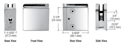 C.R. LAURENCE Z610CH CRL Chrome Z-Series Square Type Radius Base Zinc Clamp for 3/8 Glass by C.R. Laurence