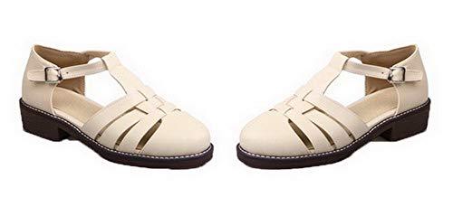 Women Low Round Pu VogueZone009 CCALP015475 Buckle Toe Heels Beige Sandals Solid R4qxfHdwPx