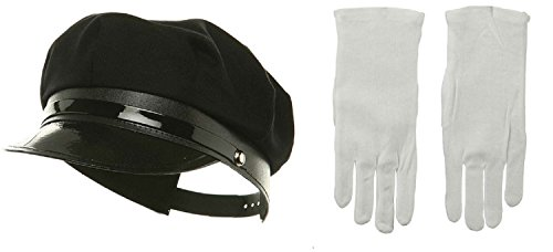 Chauffeur Costumes (Black Chauffeur Chauffer Hat White Gloves Police Officer Limo Driver Cap Costume)