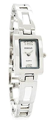 Ferenzi Women's | Elegant Silver-Tone Open Rectangle Link Bracelet Adjustable Watch | HA0273