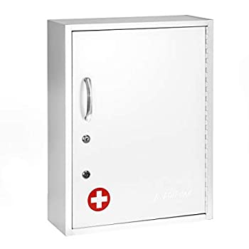 Image of Home Improvements AdirMed Medicine Cabinet with Pull-Out Shelf & Document Pocket - Large Dual Lock Wall Mounted Steel Medical Organizer - Safe and Secure Storage for Medicine First Aid and Emergency Kit (White)
