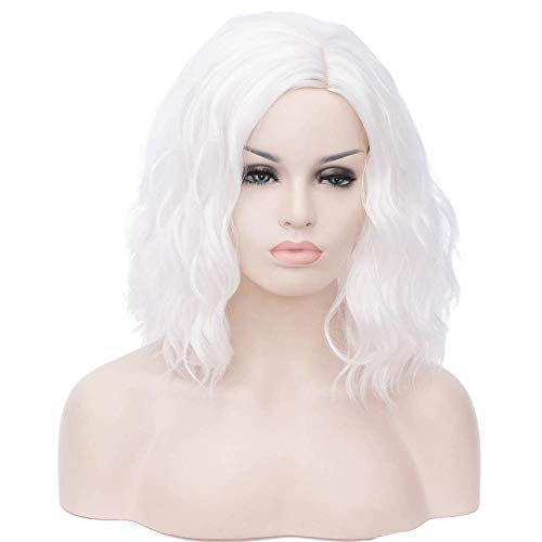 Alacos Fashion 35cm Short Curly Full Head Wig Heat Resistant Daily Dress Carnival Party Masquerade Anime Cosplay Wig +Wig Cap (White)