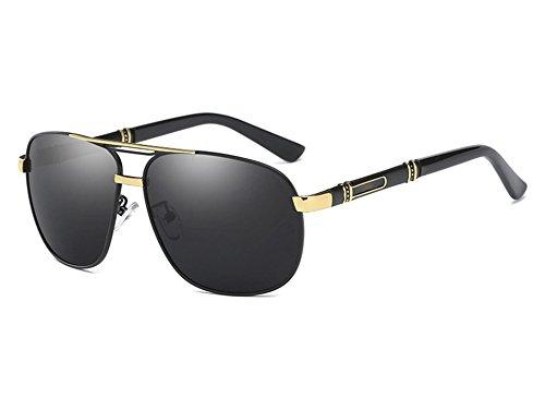 de Negro gray Gafas Gris Mujer Conducción la polarizadas Gris Sol gold Hombres UV400 black Sunglasses de Gafas TL Espejo de Sol Vintage Hombre BWOTtvqBxH