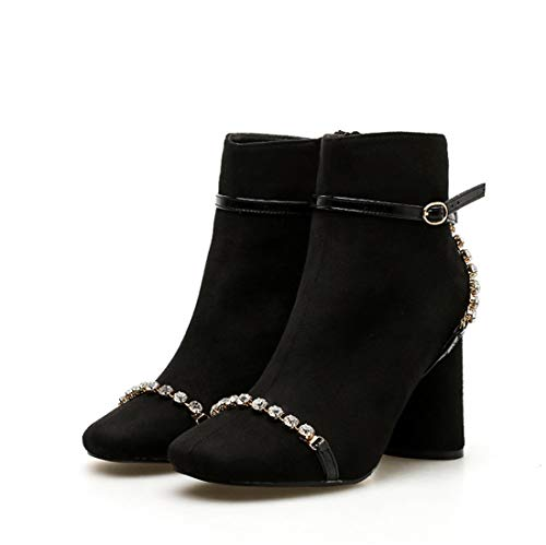Otoño Botas Alto Botas para de Desnudas DEDE Mujer Botas tacón Diamante Zapatos Botas black Gamuza Alto tacón Mujer Sandalette Invierno Desnudas zwqfX4Izv