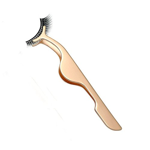 False Eyelashes Applicator Tool Eyelash Extension Tweezers Remover Clip Tweezers Nipper (Golden)