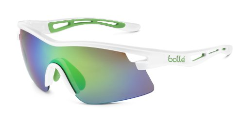 Bolle Edge - Bolle Vortex Sunglasses, Shiny White Green Edge Frame, Brown Emerald Lens