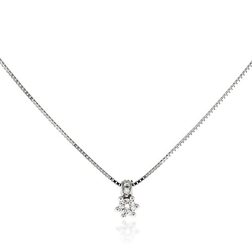 Gioiello Italiano Collier en or blanc 18 carats avec diamants 0,15 carat