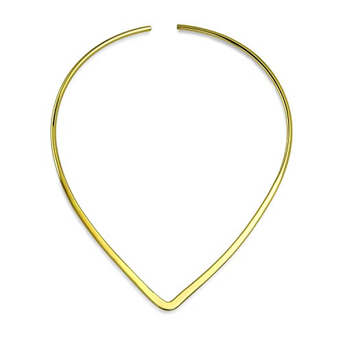 Sliders Yellow Pendant - Bling Jewelry Basic Simple Slider Choker V Shape Collar Necklace for Women Flat Polished 14K Gold Plated Brass Add Your Pendant
