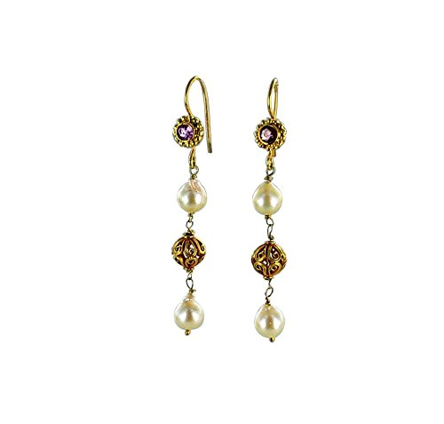 - 18K Gold AKOYA Pearl and Pink Tourmaline Earrings