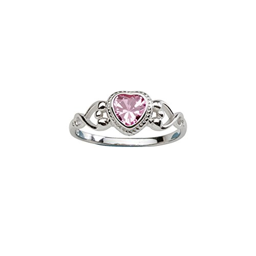 Sterling Silver Birthstone Heart Ring (Sterling Silver October CZ Simulated Birthstone Baby Ring with)