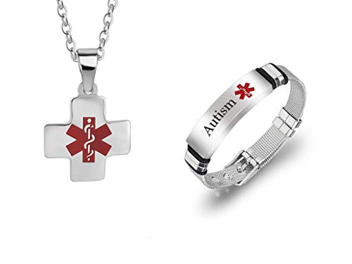 Sunling 2 Pack Durable Customized Adjustable Surgical Steel Medical Alert Bracelet for Women Men's Cross Medic Alarm Identification Necklace Jewelry Set,Free ()