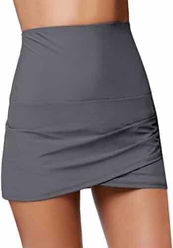 4c42c57499 Luyeess Women's High Waisted Tulip Hem Swim Skirt Bikini Tankini Swimsuit  Bottom