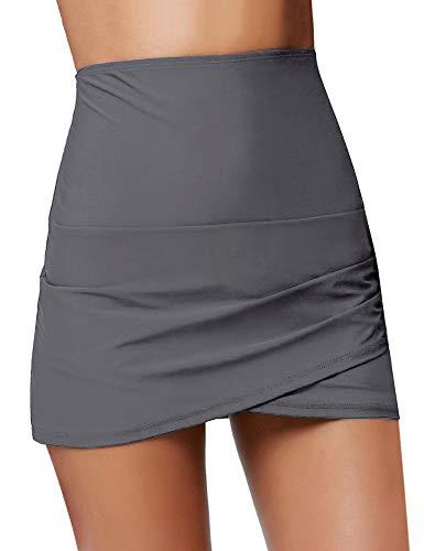 Luyeess Women's High Waisted Tulip Hem Swim Skirt Bikini Tankini Swimsuit Swimwear Bathing Suit Bottom with Briefs Grey Color, Size M(US 8-10)