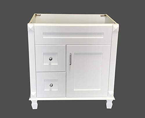 White Shaker solid wood Single Bathroom Vanity Base Cabinet 30″ W x 21″D x 32″ H Left Drawer