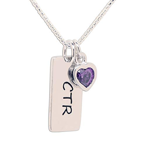 Girl's Sterling Silver CTR Bar Necklace with February Simulated Birthstone Heart Charm