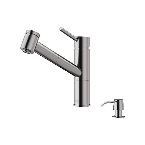 VIGO Branson Stainless Steel Pull-Out Spray Kitchen Faucet with Soap Dispenser by VIGO