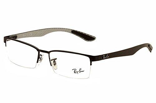 Ray-Ban Men's 0rx8412 0RX8412 No Polarization Rectangular Eyeglasses, Matte Black, 54 ()