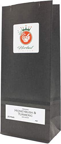 Turmeric and Honeybush Tea Blend Organic Herbal Infusion (25 Tea Bags - Unbleached)