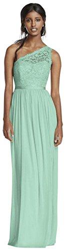 Long One Shoulder Lace Bridesmaid Dress Style F17063, Mint, 8]()