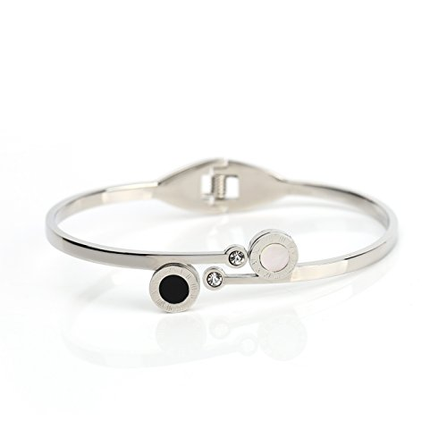 (Stylish Designer Bangle Bracelet in Silver (White Gold) Tone with Contemporary Circular Design, Faux Onyx & Mother of Pearl Inlay, Roman Numerals and Swarovski Style Crystals (160109))