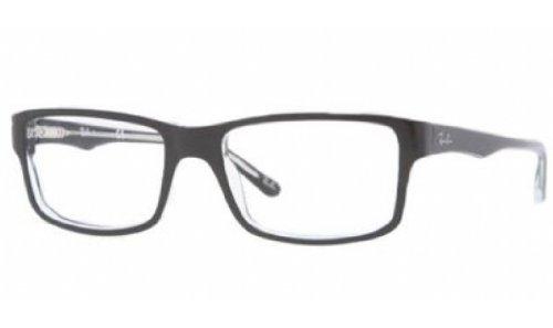 Ray-Ban Men's Rx5245 Square Eyeglasses,Top Black & Transparent,52 mm