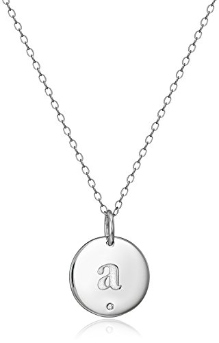 Sterling Silver Diamond Accent Round Disc Initial Letter