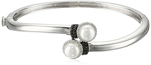 Sterling Silver Freshwater Cultured Double Pearl Diamond Bangle Bracelet (1/10cttw, I-J Color, I2-I3 - Bracelets Pearl Diamond Com