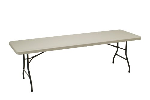 - MECO 8-Feet Table with Folding Legs, Mocha Metal Frame and Cream Plastic Top