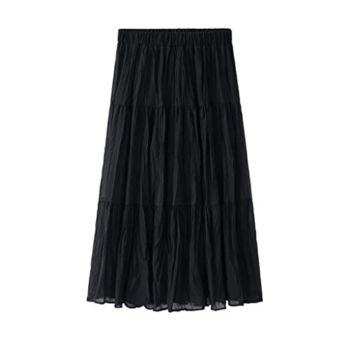 - Sunhusing Womens Solid Color Elastic Waist Comfort Patchwork Pleated Hem Cream Skirt Fairy Pleated Mid-Length Skirt