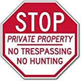 No Trespassing No Hunting No Trespassing STOP Sign - 18x18