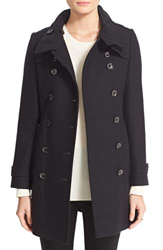 - BURBERRY DAYLESMOORE Wool Blend Belted Double Breasted Trench Coat in Black