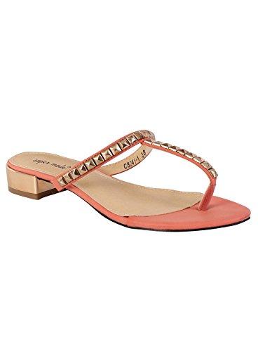 Ladies Flip Flops Womens Summer Beach Toe Post Sandals Studded Shoes Pink z956ramS
