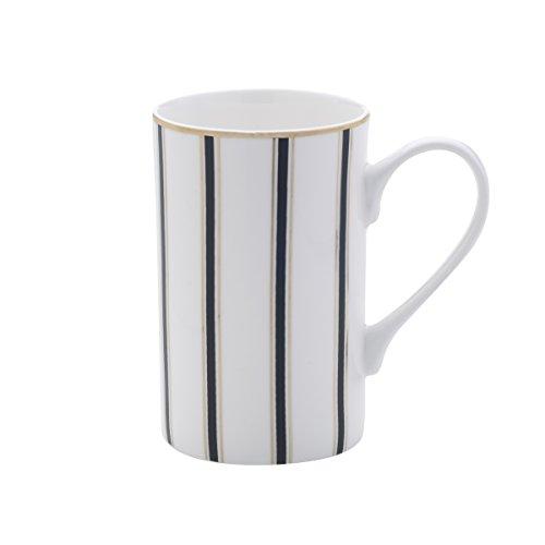 Mikasa Bone China Coffee Mug, 16-Ounce, Stripes White/Black/Gold (Black Mikasa Tea)