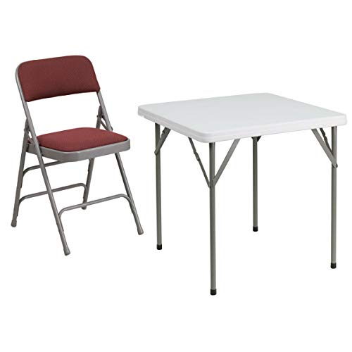 Flash Furniture Hercules Series Triple Braced & Double Hinged Burgundy Fabric Metal Folding Chair with 34'' Square Granite White Plastic Folding Table ()