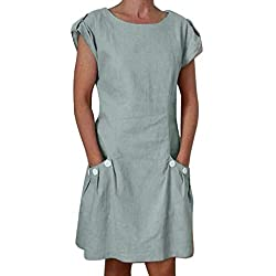 Cmrtew Summer Dress Women Casual Solid Ruffled Pockets O Neck Shift Daily Buttoned Decor Dresses Short Sleeve Robe Gray