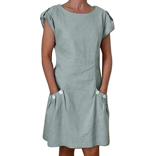 Ratoop Women Casual Solid Ruffled Pockets O-Neck Shift Daily Buttoned-Decor Dresses Gray