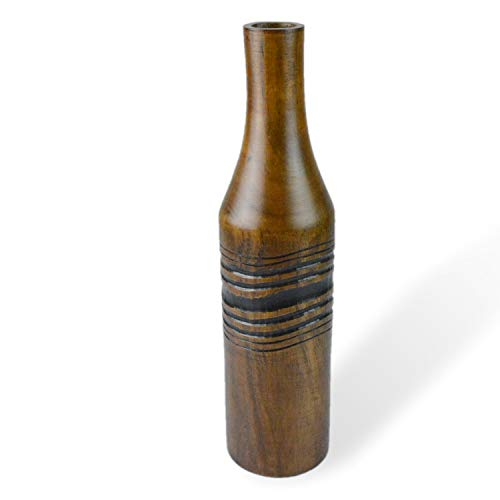 roro Handcarved Natural Wine Bottle Wood Decor Vase with Etched Label