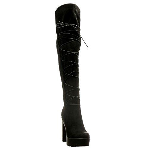 Angkorly - Chaussure Mode Cuissarde Botte plateforme sexy souple femme multi-bride Talon haut bloc 11 CM - Noir
