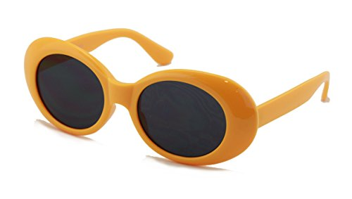 V.W.E. Vintage Sunglasses UV400 Bold Retro Oval Mod Thick Frame Sunglasses Clout Goggles with Dark Round Lens (Canary - Sunglasses U V