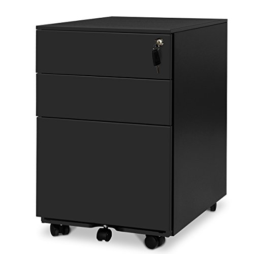 DEVAISE 3 Drawer Mobile File Cabinet with Lock, Mobile Pedestal Cabinet in Black (File Desks Cabinet)