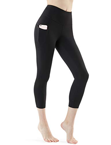 TSLA Yoga Pants 21 inches Capri High-Waist Tummy Control w Pocket, Pocket Aerisoft(fyc64) - Black, X-Small (Size 4-6_Hip35-37 Inch)