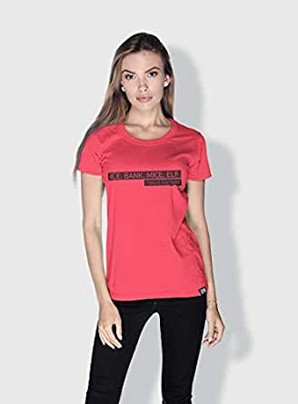 Creo Ice Bank Mice Elf Funny T-Shirts For Women - L, Pink