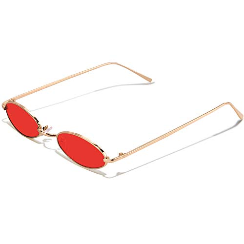 Vintage Oval Sunglasses For Women - Feirdio Small Metal Frame Candy Color 2265red