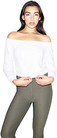 American Apparel Women`s California Fleece Long Sleeve Off Shoulder Top