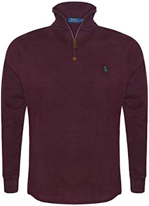 Polo Ralph Lauren Mens Half Zip French Rib Pony Logo Long Staple Cotton Pullover Sweater (XX-Large Classic Wine)