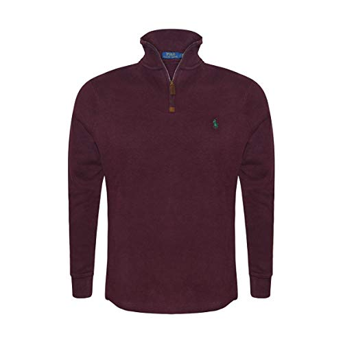 Polo Ralph Lauren Men's Half Zip French Rib Cotton Sweater (Small, Classic Wine)