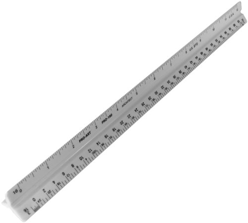 Drafting Ruler (Pro Art 180 12-Inch Architectural Triangular Scale)