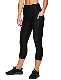RBX Active Women's Solid Running Workout Capri Length Yoga Leggings